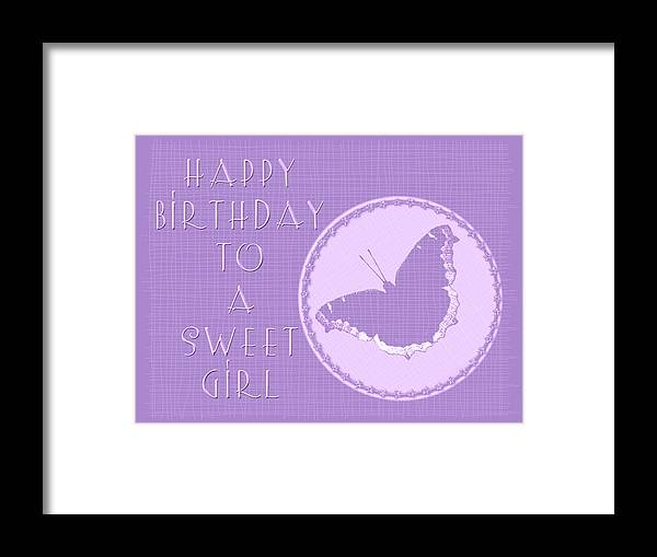 Birthday Framed Print featuring the photograph Birthday Girl Greeting Card - Mourning Cloak Butterfly by Mother Nature