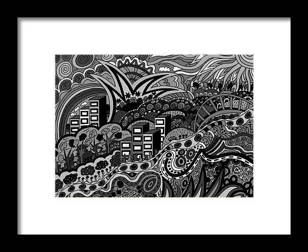 Seaside Villiage Framed Print featuring the drawing Black And White Seaside by Karen Elzinga