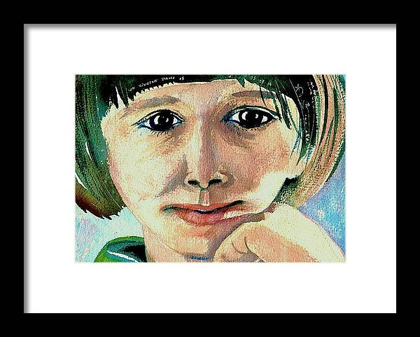 Portraits Framed Print featuring the painting Black Eyed Young Girl by ITI Ion Vincent Danu