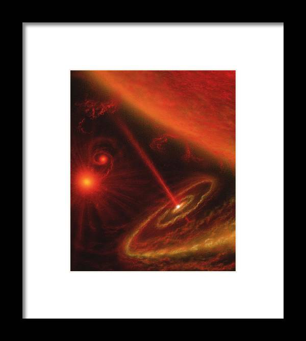 X-ray Binary Star Framed Print featuring the photograph Black Hole & Red Giant Star by Julian Baum