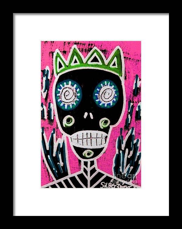 Women Framed Print featuring the painting Black King Sugar Skull Angel by Sandra Silberzweig