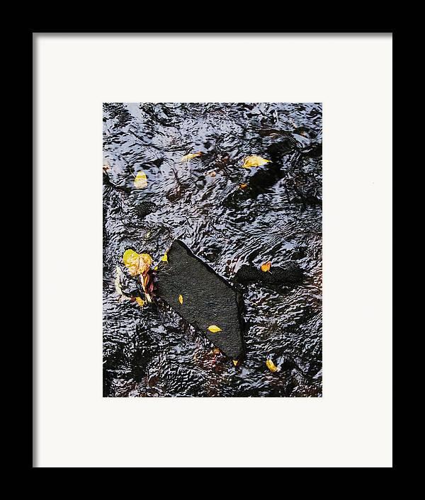 Black Rock Yellow Leaves Water Framed Print featuring the photograph Black Rock At Graue Mill by Todd Sherlock