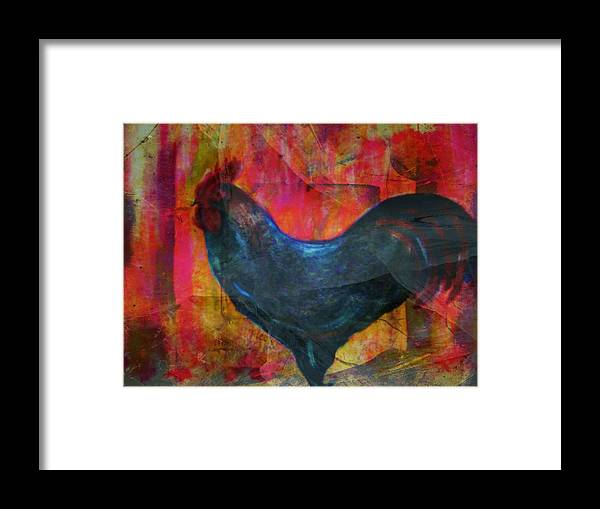 Rooster Framed Print featuring the mixed media Black Rooster by Joseph Ferguson