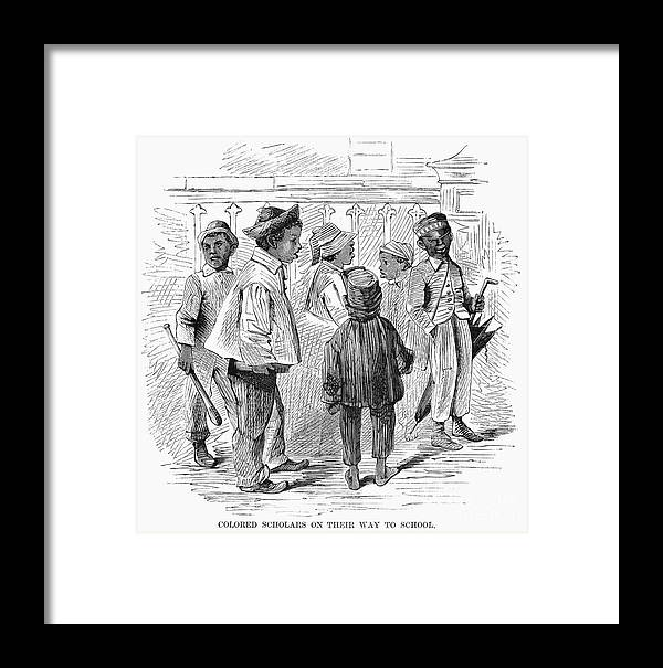 1867 Framed Print featuring the photograph Black School Children by Granger