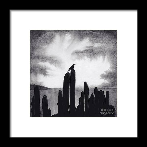 Raven Framed Print featuring the painting Blackbird by Scott Alberts