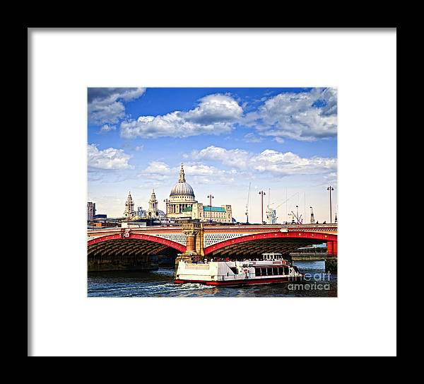 Blackfriars Framed Print featuring the photograph Blackfriars Bridge And St. Paul's Cathedral In London by Elena Elisseeva