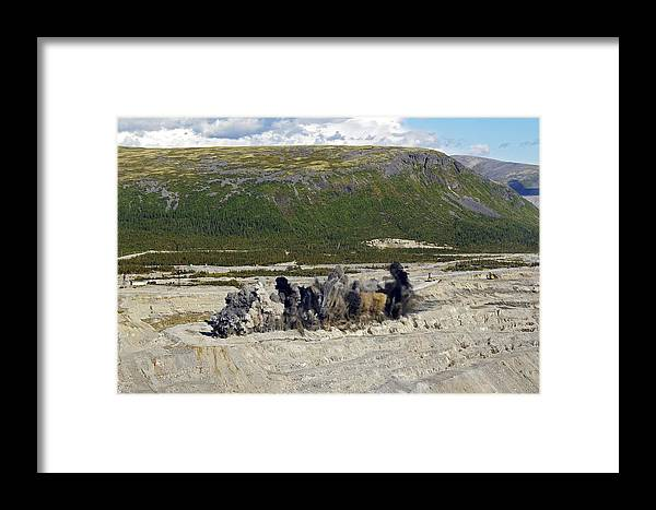 Open Cast Framed Print featuring the photograph Blast At Open-cast Mine by Ria Novosti