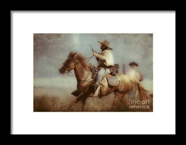 Reenactments Framed Print featuring the mixed media Blazing by Kim Henderson
