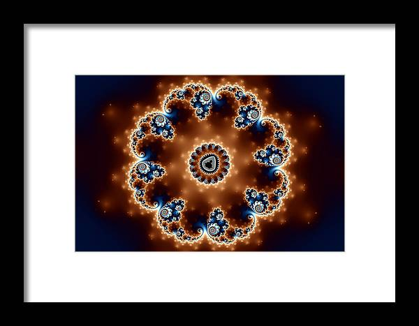 Abstract Framed Print featuring the digital art Blue And Bronze by Mark Eggleston