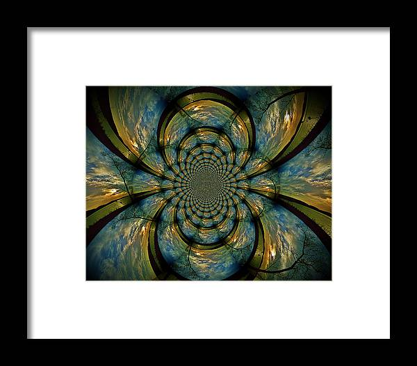 Stain Glass Image Framed Print featuring the digital art Blue And Gold by Becky Foster