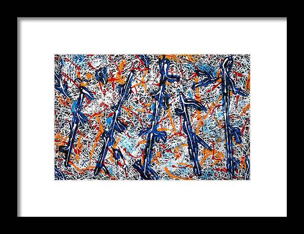 Blue And White Poles Framed Print