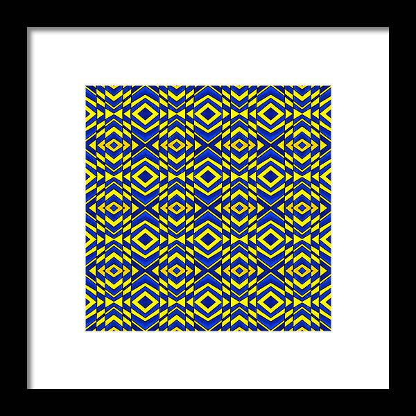 Chevron Framed Print featuring the painting Blue And Yellow Chevron Pattern by Hakon Soreide