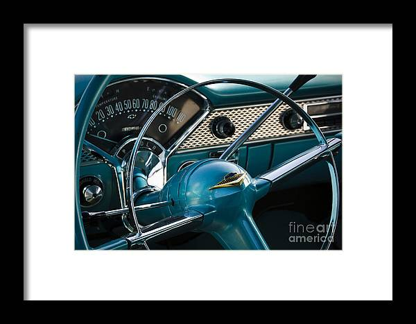 1955 Chevrolet Framed Print featuring the photograph Blue Belair by Dennis Hedberg