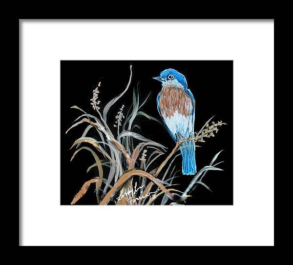 Blue Bird Framed Print featuring the painting Blue Bird by Bobbylee Farrier