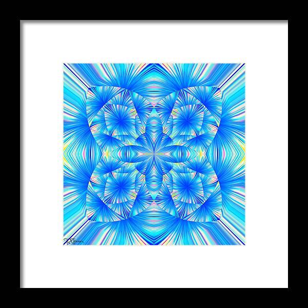 Digital Framed Print featuring the digital art Blue Burst by Rick Thiemke