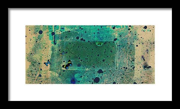 Abstract Framed Print featuring the digital art Blue butterflies by Joseph Ferguson