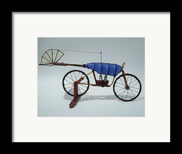 Jim Casey Sculptures Framed Print featuring the sculpture Blue Caravan by Jim Casey