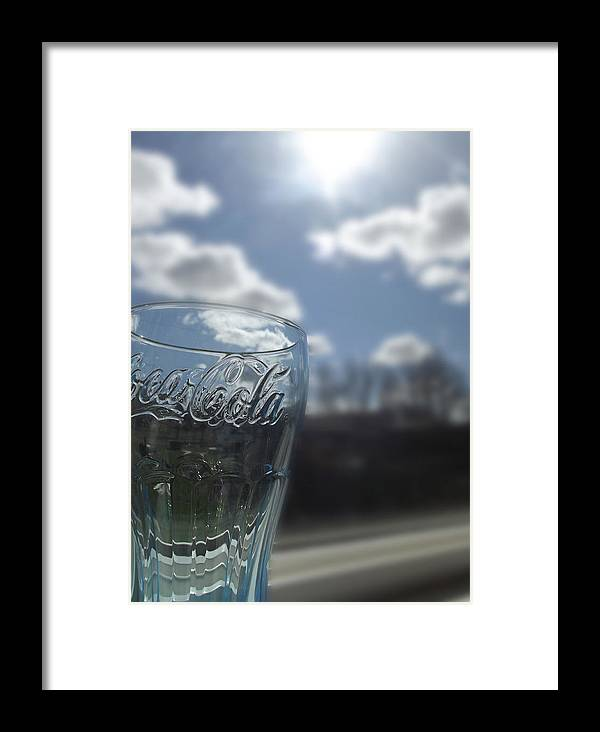 Coca Cola Glass Framed Print featuring the photograph Blue Coca Cola Glass 3 by Robin Cox