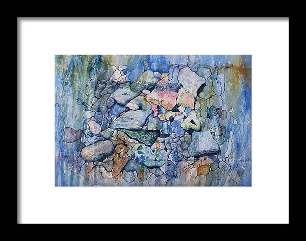 Stylized Under Water Still Life/landscape Framed Print featuring the painting Blue Creek Stones by Patsy Sharpe