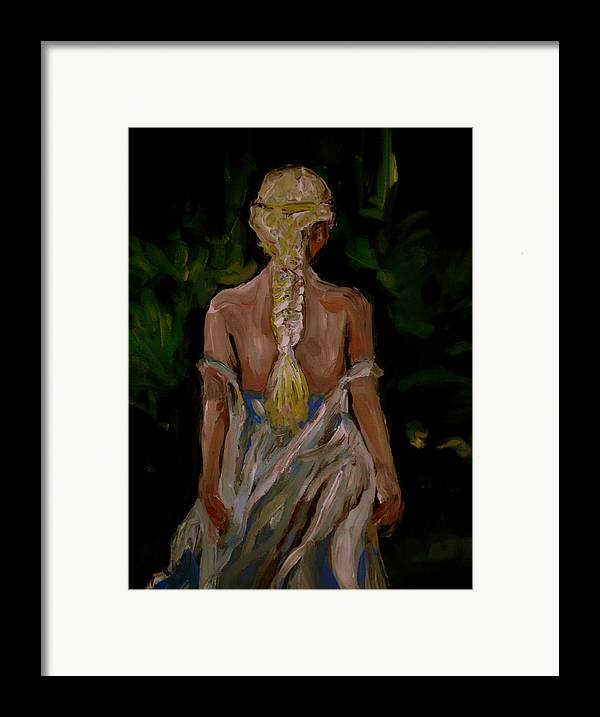 Girl Framed Print featuring the painting Blue Dress by Adam Kissel