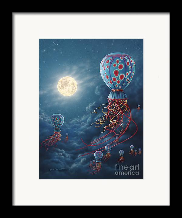 Lynette Cook Framed Print featuring the painting Blue Floaters by Lynette Cook