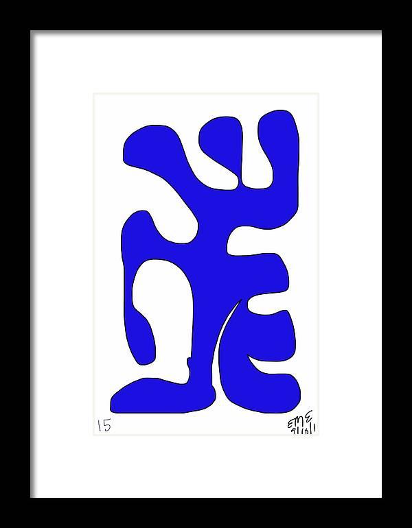 Blue Digital Form Framed Print featuring the digital art Blue Form 15 by Eric Elizondo