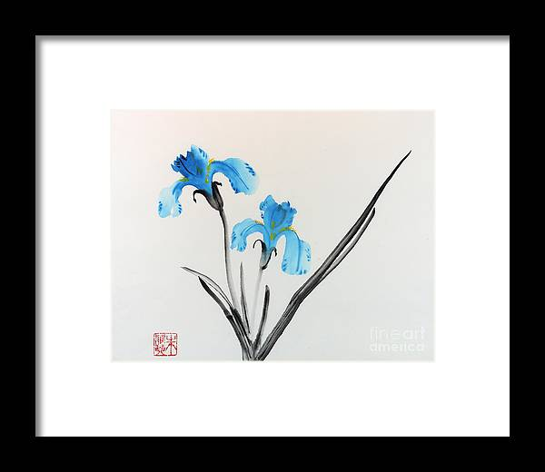 Blue Flower Framed Print featuring the painting Blue Iris I by Yolanda Koh