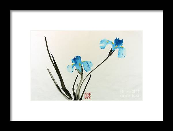Blue Flower Framed Print featuring the painting blue iris II by Yolanda Koh
