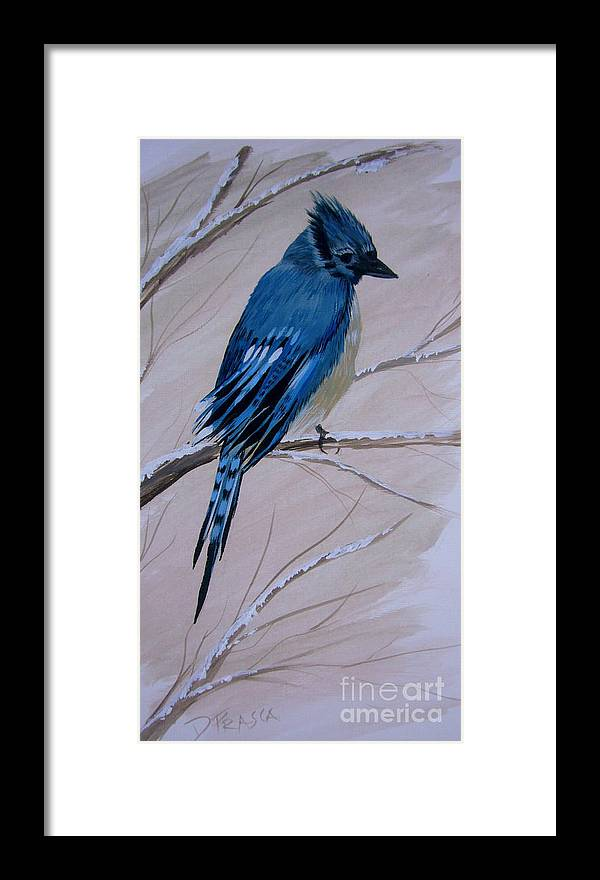 Blue Jay Framed Print featuring the painting Blue Jay by Donna Frasca
