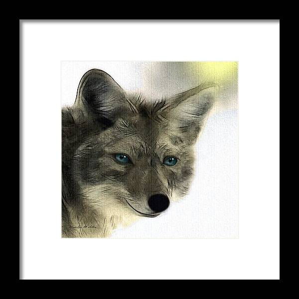 Coyote Framed Print featuring the digital art Blue by Madeline Allen - SmudgeArt