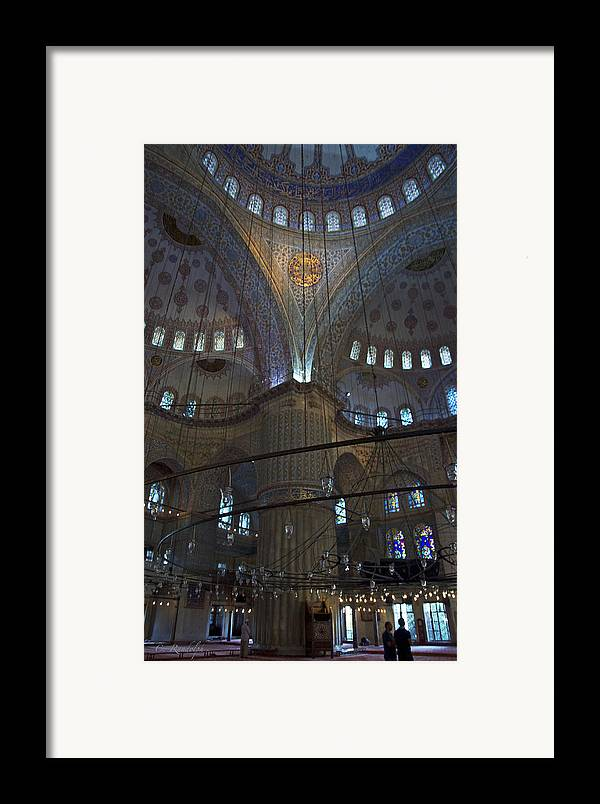 Blue Mosque Framed Print featuring the photograph Blue Mosque Interior by Cheri Randolph