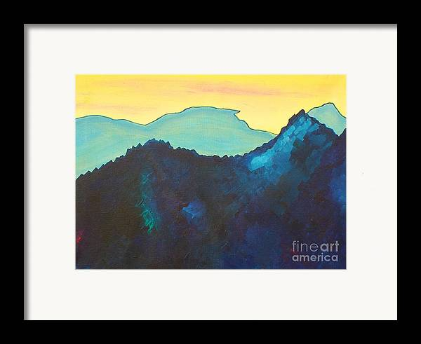 Landscape Framed Print featuring the painting Blue Mountain by Silvie Kendall