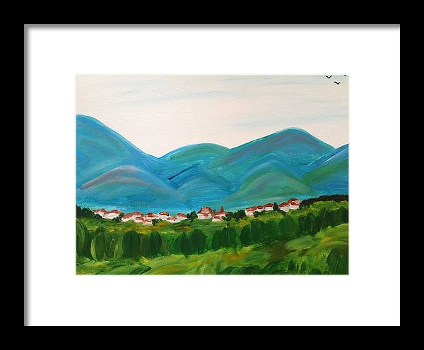 Landscape Framed Print featuring the painting Blue Mountains by Malia Zaidi