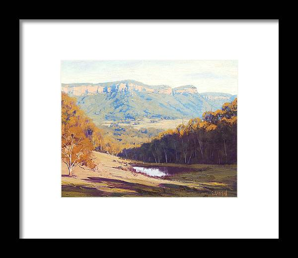 Rural Framed Print featuring the painting Blue Mountains Paintings by Graham Gercken