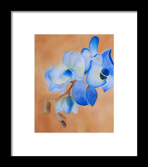 Blue Mystique Framed Print featuring the painting Blue Mystique Orchid by Donna Walsh