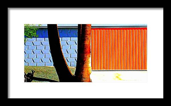 Modern Architecture Framed Print featuring the photograph Blue Orange And Palms by Randall Weidner