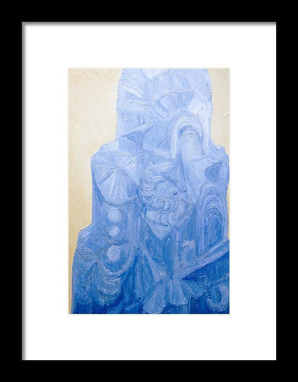 Abstract Expressionism Framed Print featuring the painting Blue Pagan Church by Kazuya Akimoto