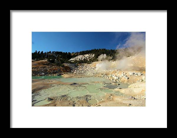 Lassen Volcanic National Park Framed Print featuring the photograph Blue Pools And Funaroles by Adam Jewell