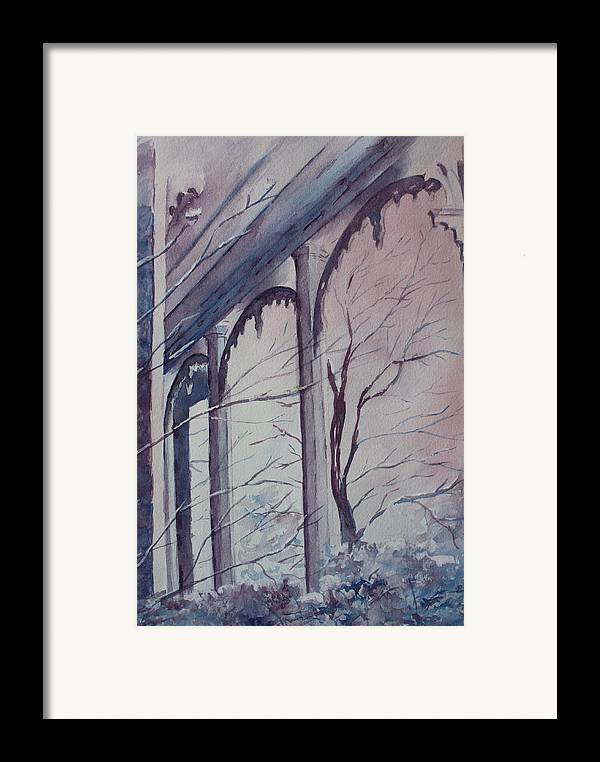 Snow Scene Framed Print featuring the painting Blue Snow by Patsy Sharpe