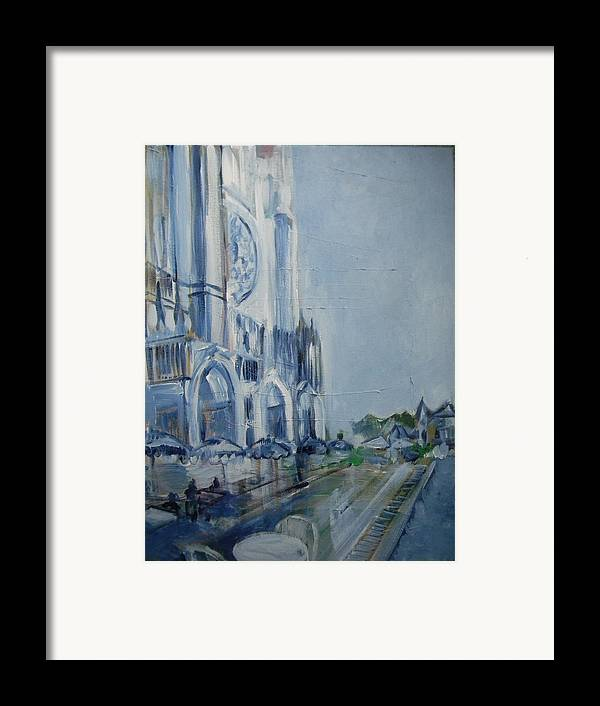 Chartre Framed Print featuring the painting Blue Study Of Chartre by Carol Mangano