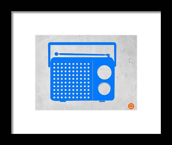 Radio Framed Print featuring the digital art Blue Transistor Radio by Naxart Studio
