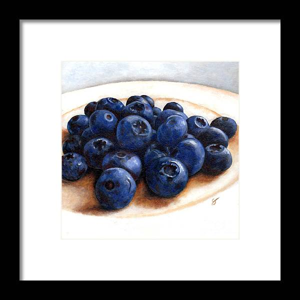 Food Framed Print featuring the painting Blueberries by Scott Alberts