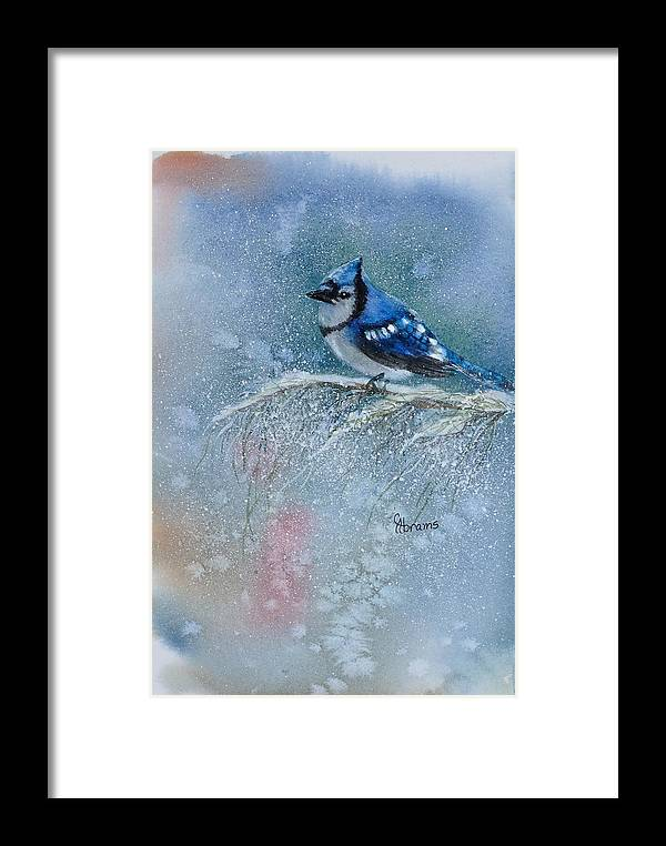 Water Color Framed Print featuring the painting Bluejay In Winter by Claire Abrams