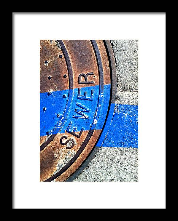Marlene Burns Framed Print featuring the photograph Bluer Sewer Three by Marlene Burns