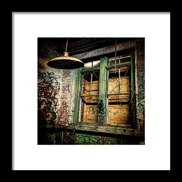 Window Framed Print featuring the photograph Boarded Up by Chris Lord
