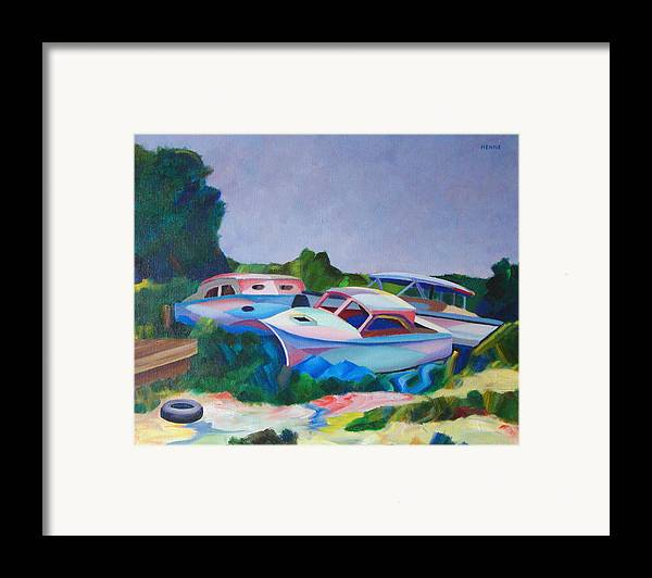 Boats Framed Print featuring the painting Boat Dreams by Robert Henne