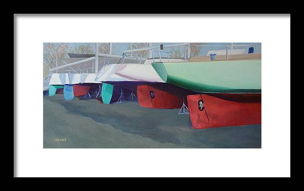 Sailboats Framed Print featuring the painting Boat Yard Island Heights by Robert Henne