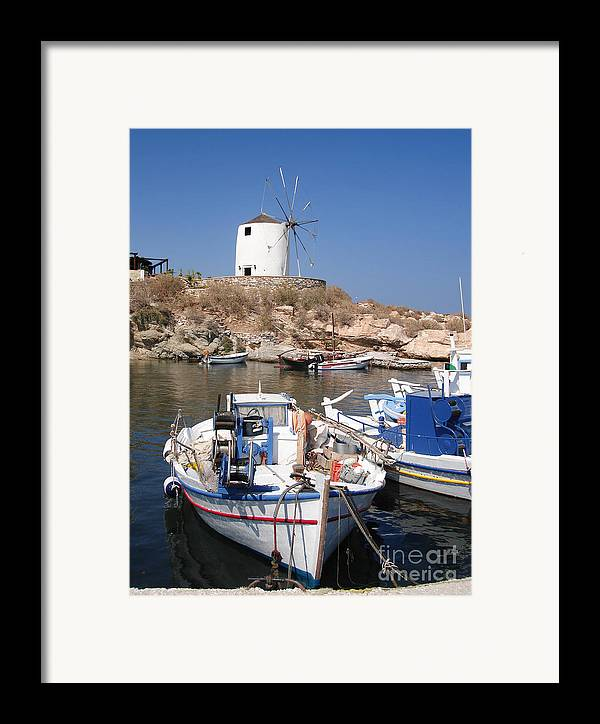 Aegean Framed Print featuring the photograph Boats And Windmill by Jane Rix