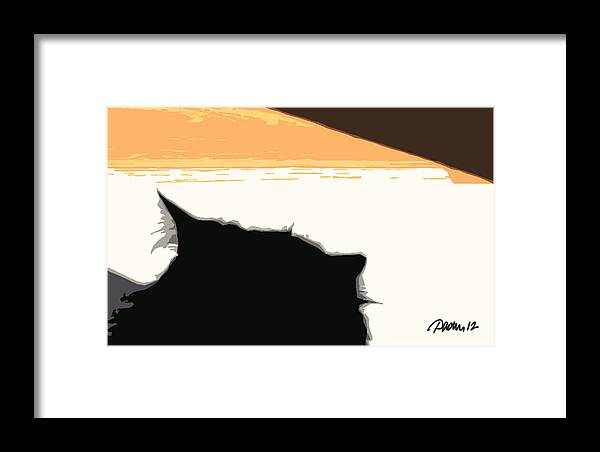 Graphic Animal Cat Silhouette Black Pavelle Fine Art Framed Print featuring the digital art Boo Sillhouette by Jim Pavelle