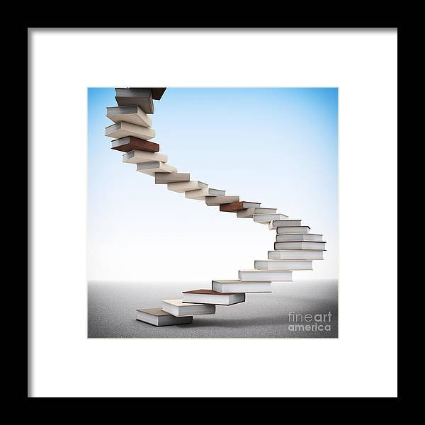 Book Framed Print featuring the photograph Book Stair by Gualtiero Boffi